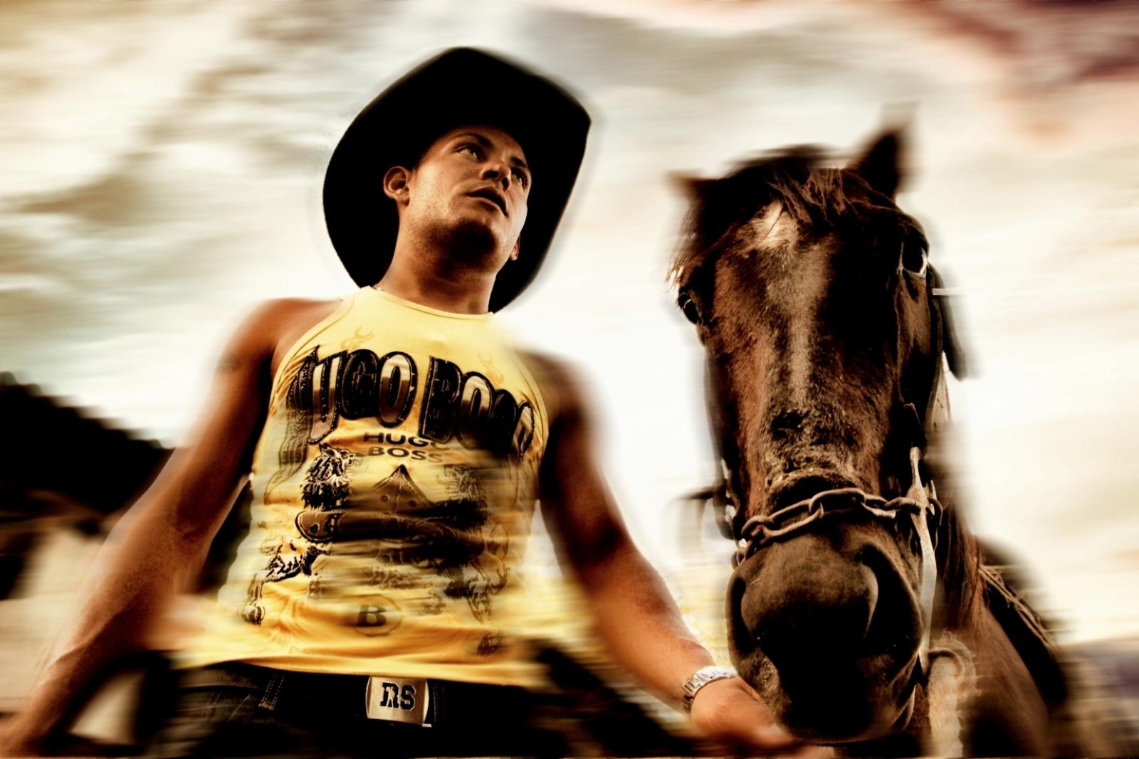 Cuban Cowboy and his horse