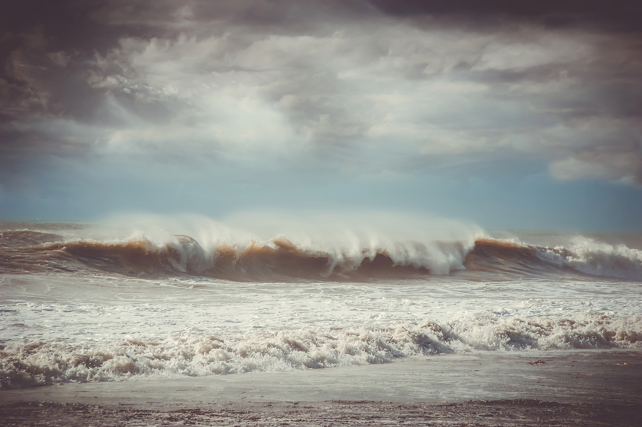 Stormy weather and the waves