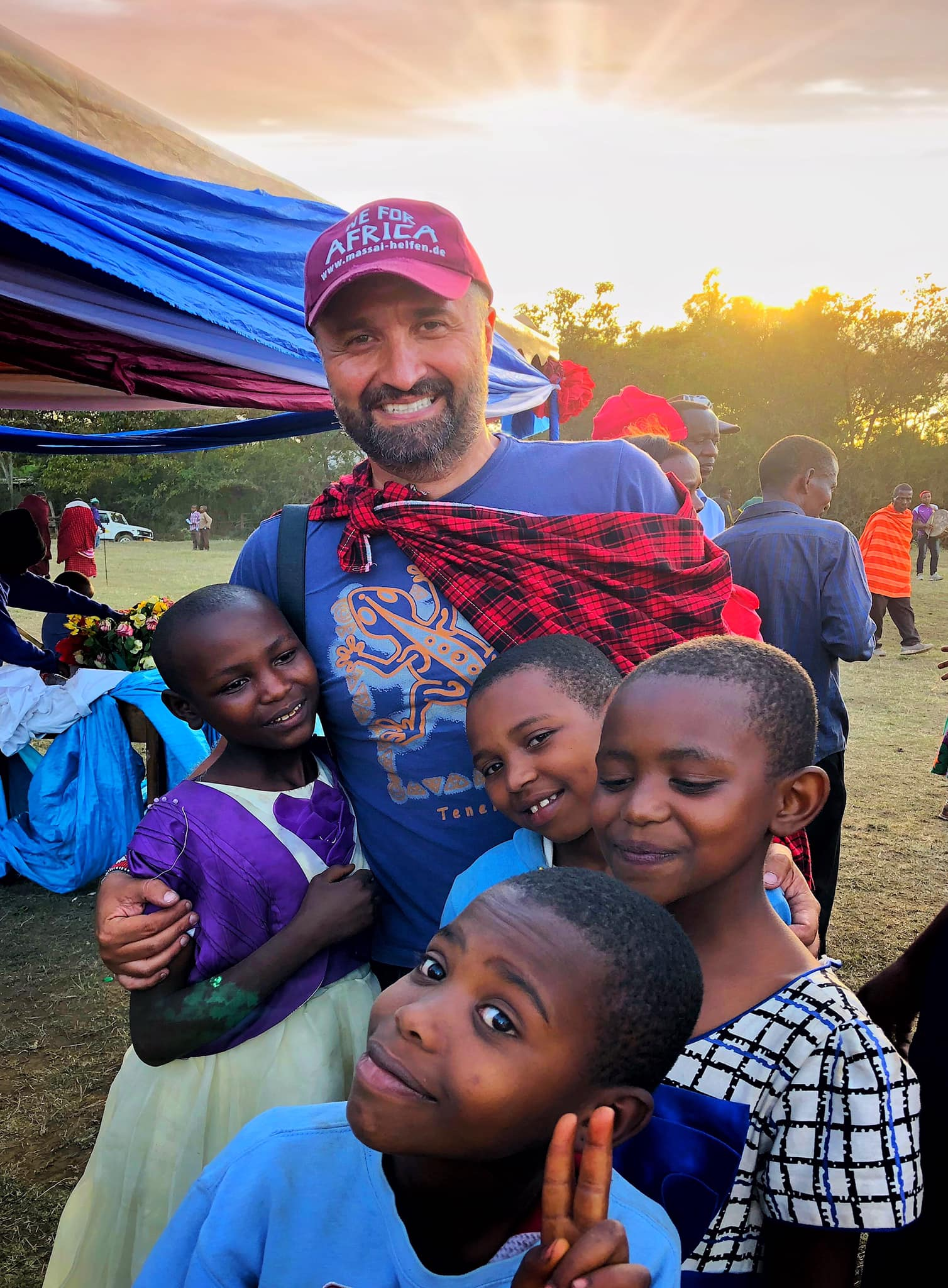 Uccrow with Maasai Children