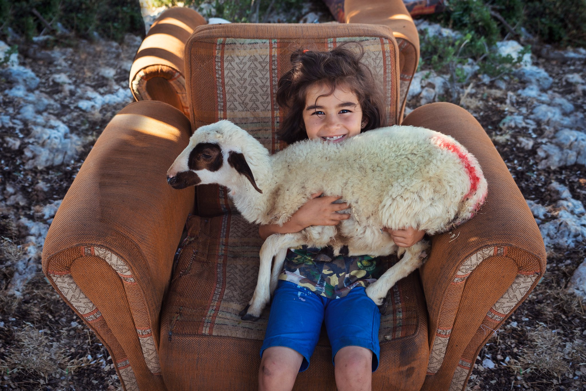 Yörük girl and her lamb